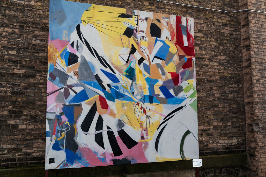 picture of large abstract painting outside