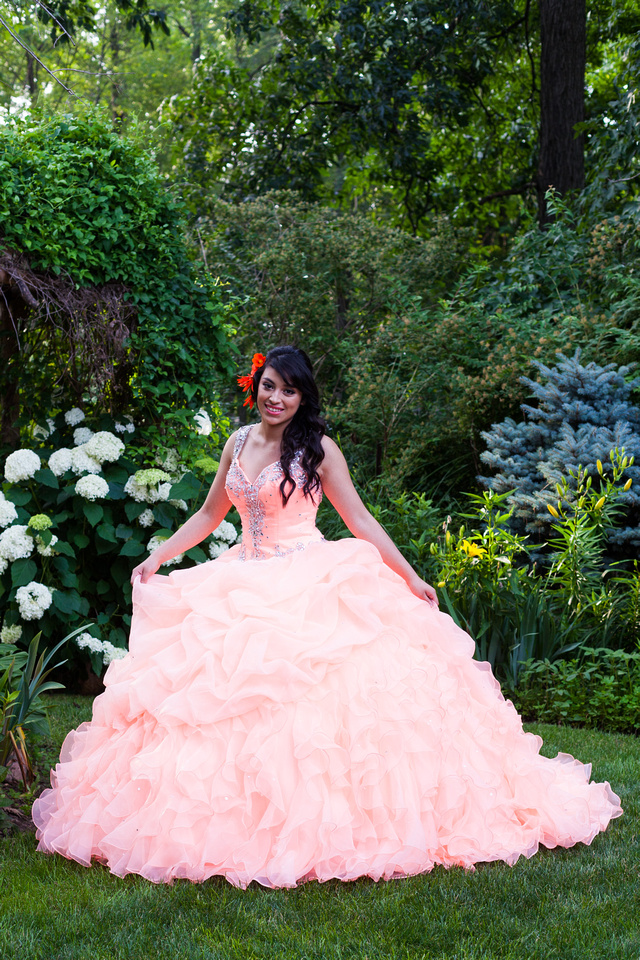 picture of a Quinceañera dress in a garden