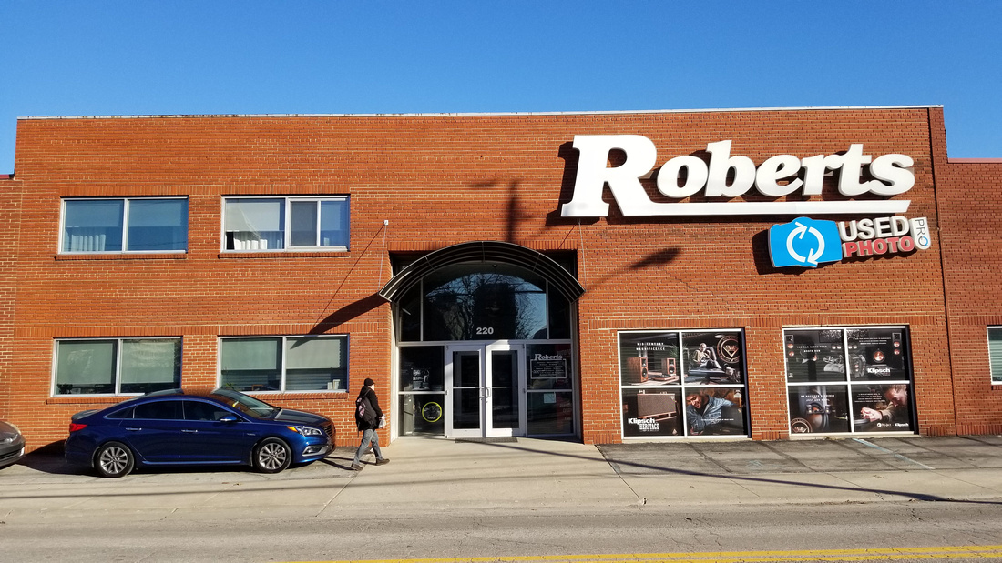 Photograph of the front of the Roberts Camera store