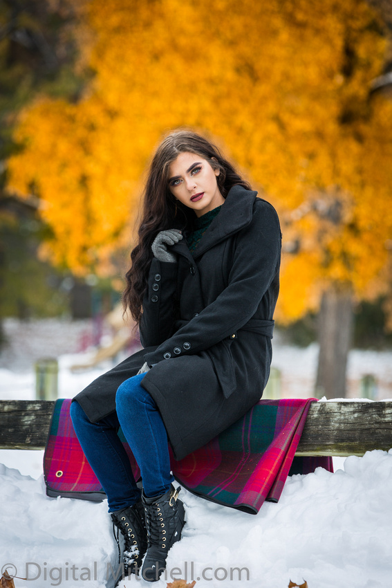 Photograph Lovely young lady in a dark coat in the snow