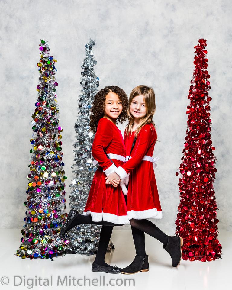 image of little girls in Christmas dresses