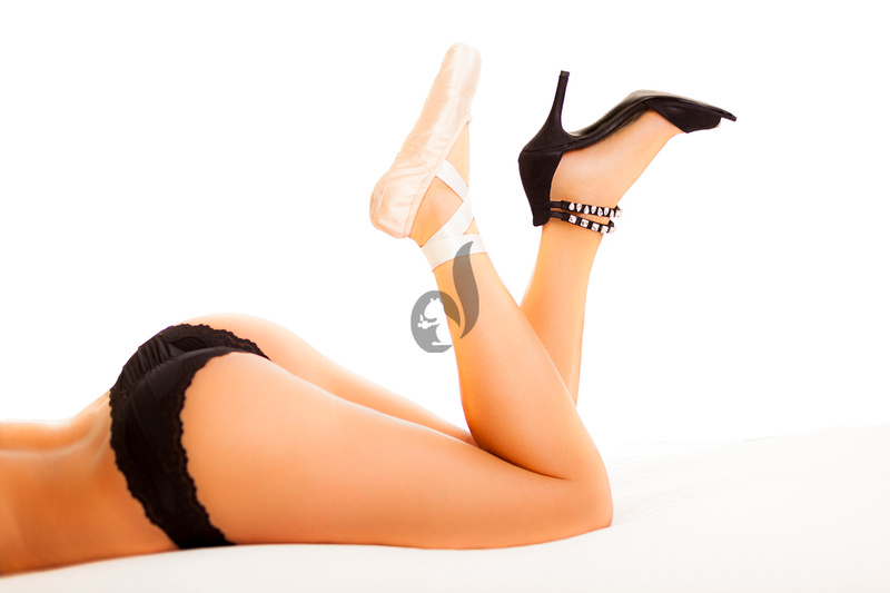 picture of girl wearing panties and one ballerina and one high heel shoe