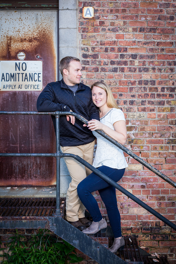 engagement photograph on the stairs