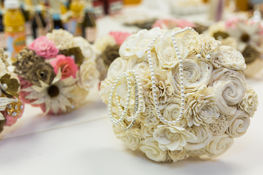 photograph of the bridal bouquets  and jewelry