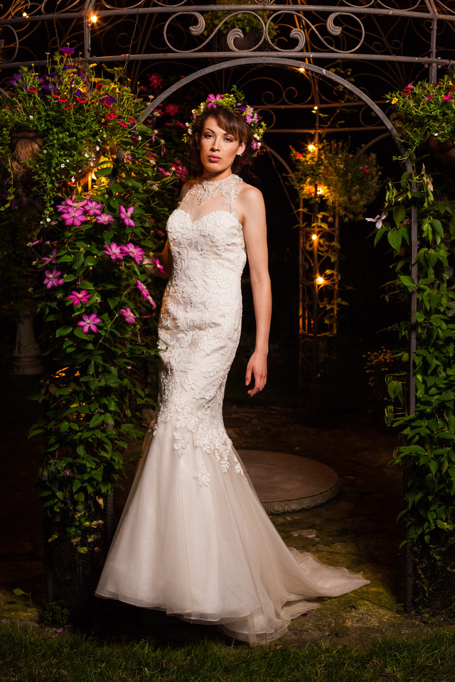 picture of wedding dress at night in garden