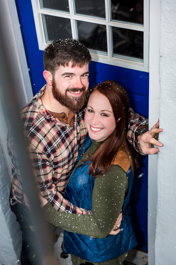 photograph of engagement couple in a doorway