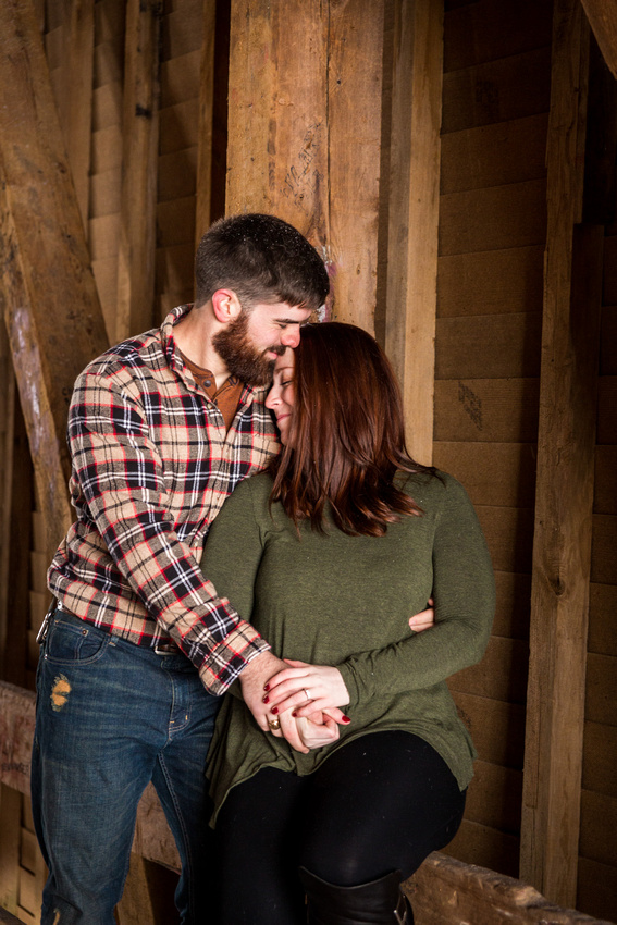 picture of engagement session in a covered bridge