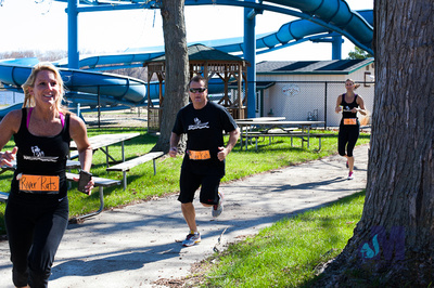 "picture of The River Rats ""scurry"" to their event durring the Elkhart Amazing Race 2014"