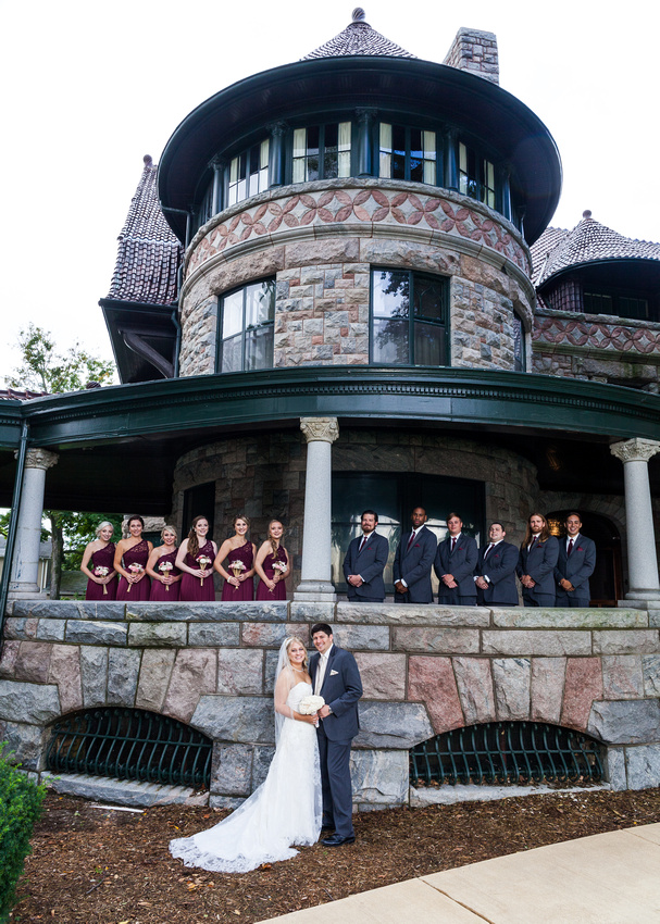photograph of the wedding party at the Oliver Plow house