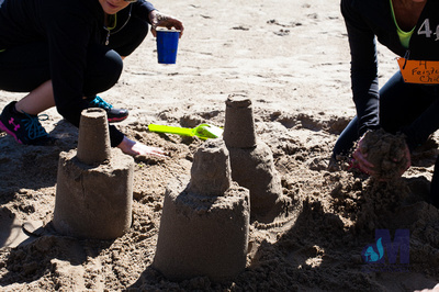 picture of finished sandcastles at Elkhart Amazing Race 2014