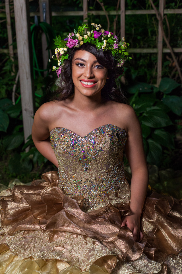 picture of young lady in a bronze Quinceañera