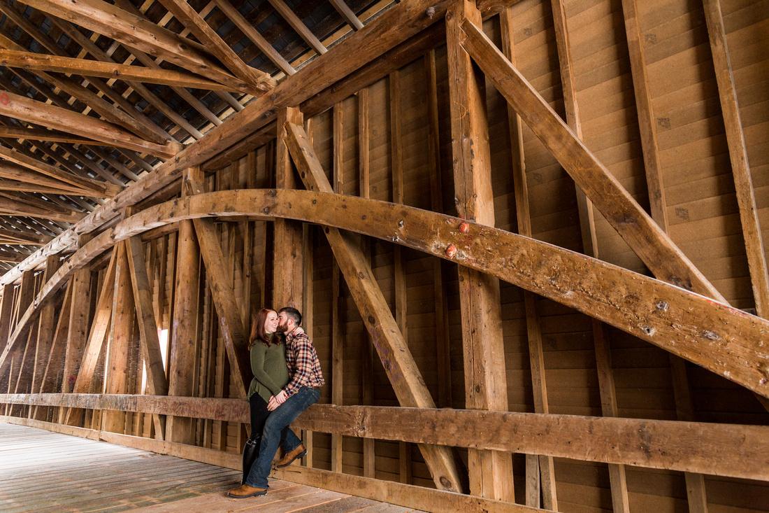 engagement photo session inside covered bridge