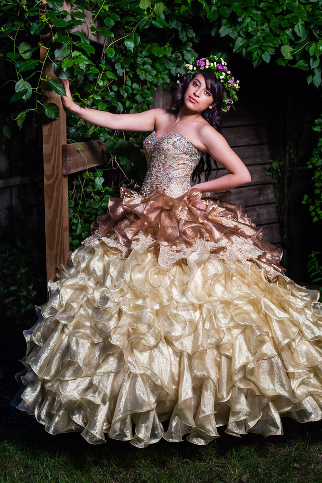 picture of gold and bronze Quinceañera dress
